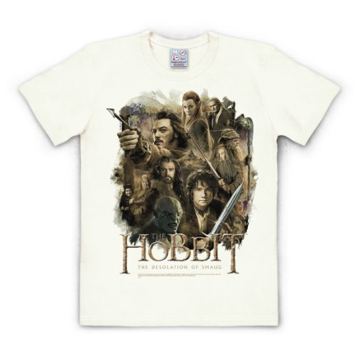 Logoshirt T-Shirt The Hobbit - The Desolation of Smaug - Filmplakat - Rundhals Shirt altweiß - Lizenziertes Originaldesign, Größe XL