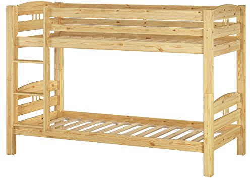Erst-Holz® Stockbett Etagenbett Kiefer 90x200 massives Hochbett f. Kinderzimmer Doppelbett Rollrost 60.10-09 - Holz-kinder Einzelbett