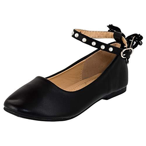Dorémi Festliche Kinder Mädchen Ballerinas Schuhe mit Zierblume M420sw2 Schwarz Perlen 36 (Ballerinas Schwarze Mädchen)