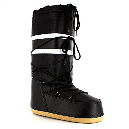 Damen Schuhe Nylon Schnee Regen Stiefel Winter Moon Snow Boots Schwarz