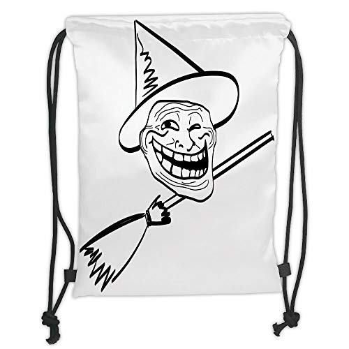 nted Drawstring Sack Backpacks Bags,Humor Decor,Halloween Spirit Themed Witch Guy Meme LOL Joy Spooky Avatar Artful Image,Black White Soft Satin,Th ()