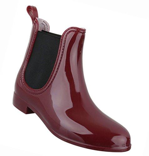 Damen Schuhe Stiefeletten Stiefel Gummi Boots Dunkelblau Weissrot