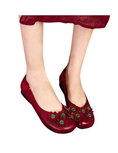 Youlee Ladies Fiori Scarpe Basse Fatte A Mano In Pelle Rossa