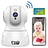 QZT WLAN Kamera, HD 1080P WLAN IP Kamera Home Überwachungskamera mit Alexa Nachtsicht Bewegungserkennung Handy App WiFi Cam f