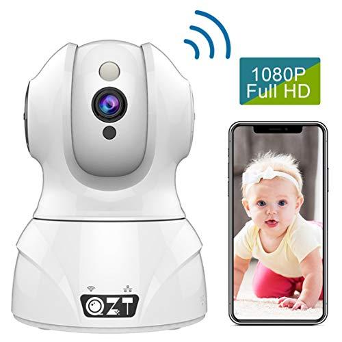 QZT WLAN Kamera, HD 1080P WLAN IP Kamera mit Alexa Innen Home Überwachungskamera Nachtsicht Bewegungserkennung WiFi Babyphone Cam für Live Video Überwachung Indoor Baby Haustier Monitor (Systeme Video Samsung Security)