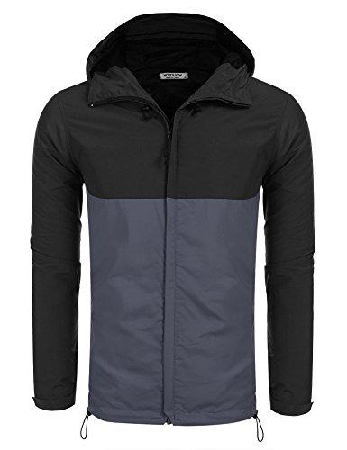 HOTOUCH Herren Wasserdichte Jacke Zusammenfaltbare Regenjacke Windjacke Kapuze Tragebeutel Camping Outdoor Schwarz XL