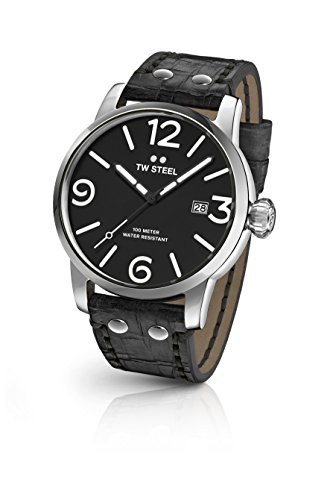 TW Steel Men's 'Maverick' Quartz Stainless Steel and Leather Dress Watch, Color:Black (Model: MS61)