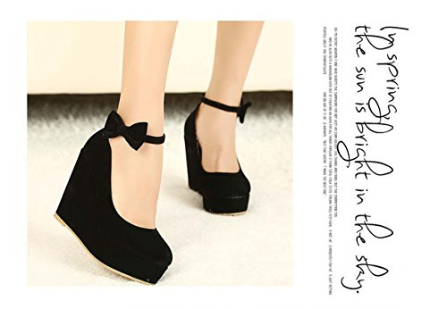 Women Sweet Bow Platform Chaussures À Talons Hauts À Talons Hauts Chaussures À Talon Black