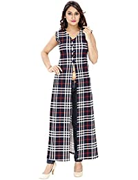 Franclo women's Chequred full length Dess (BLue, Medium)