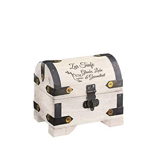 Casa Vivente Geldschatztruhe mit Gravur zur Taufe – Motiv Taube – Standard – Vintage Bauernkasse – Weißes Holz – Messing-Beschläge – Verpackung für Geldgeschenke – Geschenkidee für Patenkinder