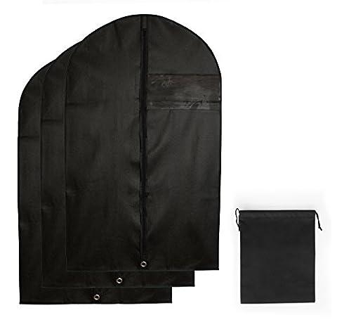3x Premium Kleidersack | Atmungsaktive Kleiderhüllen inkl. SCHUHBEUTEL | Hochwertiger Vlies-Stoff | Robuster Reißverschluss | Kleidertasche für Anzug, Sakko, Hemden, Blusen | Schwarz | 100 x 60 cm