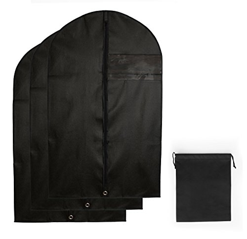 3x Premium Kleidersack | Atmungsaktive Kleiderhüllen inkl. SCHUHBEUTEL | Hochwertiger Vlies-Stoff |...