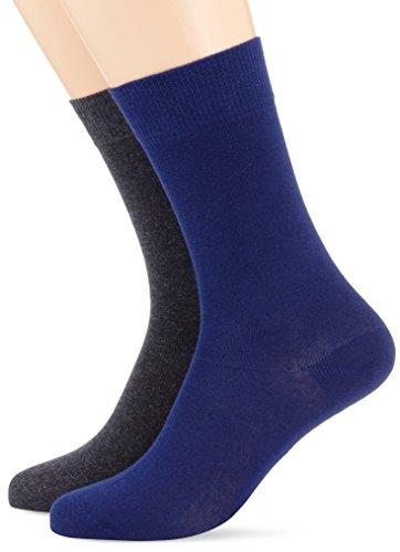 Hudson 024491, Calze Uomo, Mehrfarbig (Dark-Blue 0345), 43-46 (pacco da 2 )