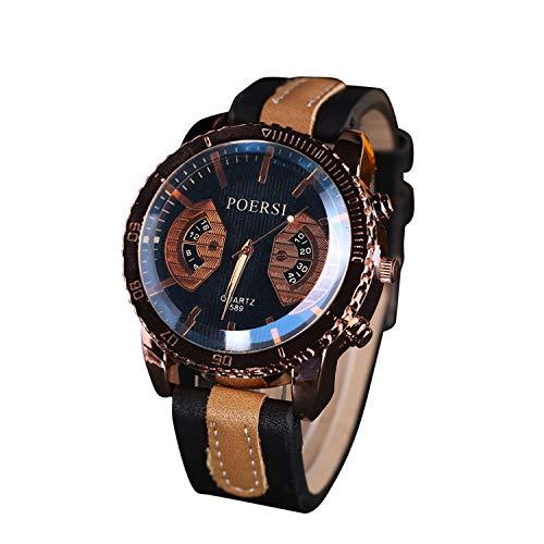 Neu Armbanduhr FGHYH Männer Luxus Herrenuhren Analog Quarz Kunstleder Sport Handgelenk Kleid Uhr Uhr Armband(Schwarz)