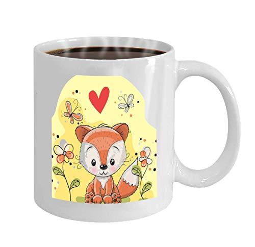 Custom Coffee Mug 11 Oz Ceramic Gifts Tea Cup Fox Flowers Butterflies Meadow Abstract Butterfly Meadow-chip