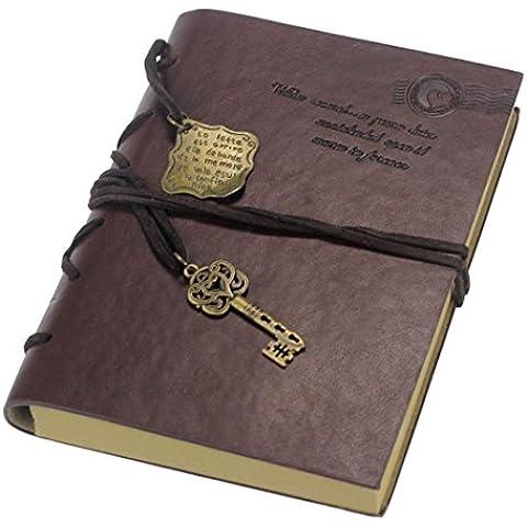 SMARTLADY Nuevo Retro Magia cuaderno del diario de cuero con Llave Cuerda(320 Páginas)