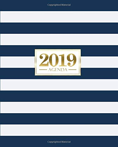 Agenda 2019: 190 x 235 mm : Agenda 2019 semana vista español : 160 g/m²: Rayas azules y blancas con oro 7252