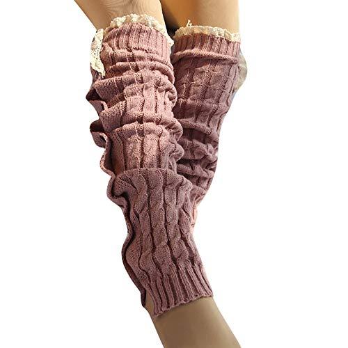 SO-buts Frauen Winter Weiche Socken,Warm Stricken Twist Socken,Dicke Häkeln Leggins Faule Stiefel,Knopf-Spitzensocke,Stiefel hohe Knie Stulpen (Rosa) -