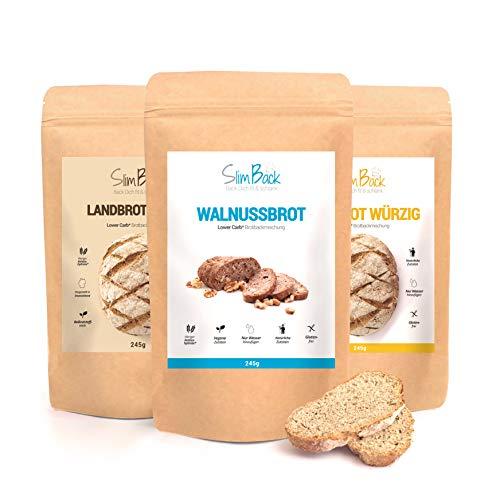 SlimBack - LOWER-CARB-BROT-BACKMISCHUNG - Probierset (3 Sorten - Walnuss | Natur | Würzig) - Backen ohne weitere Zutaten - Ergibt ca. 1,4 kg Brot - Weniger Kohlenhydrate* | Keto | Paleo | Glutenfrei