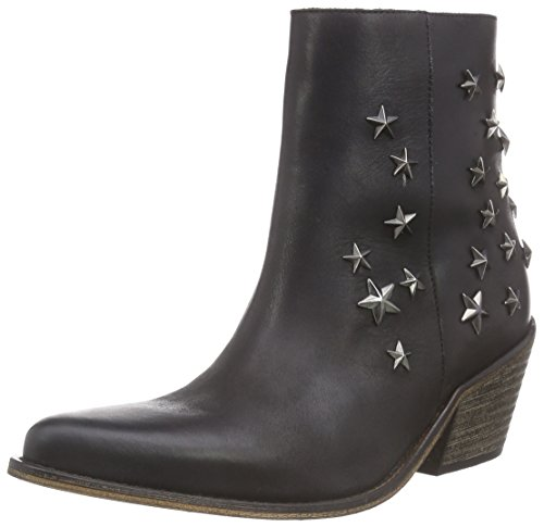 Buffalo London 3942 Leather, Damen Kurzschaft Cowboystiefel, Schwarz (Black 01), 37 EU (Buffalo Leder Cowboy-stiefel)