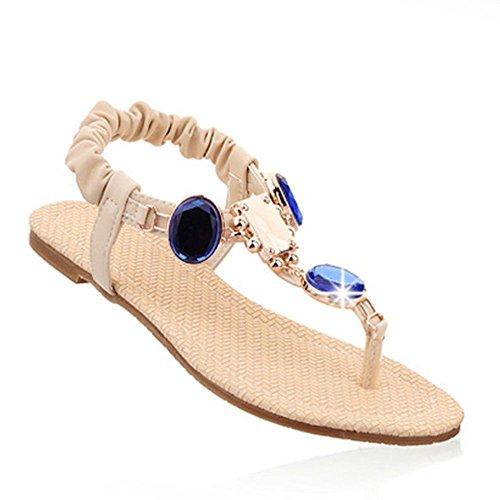 Dayiss Damen Sandalen flach Süß Elegant Sandaletten Zehntrenner mit Straß T-Strap Strandschuhe Freizeit Auslaufrabatt Beige