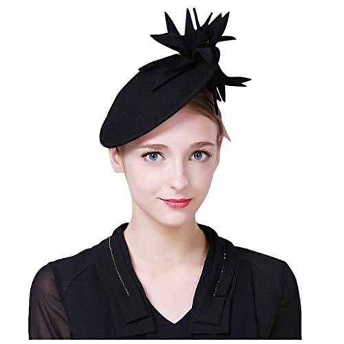 Auied Damen Blume Hut Cocktail Hochzeit Stirnband Hut Gute Qualität Wolle Jahrgang Kopfbedeckung Hut Schwarz