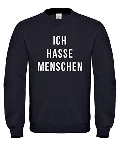 Betecki Fashion Ich Hasse Menschen - Pullover/Sweatshirt| S M L XL 2XL 3XL | Spaß Fun Shirt Spruch Misanthropie (2XL)