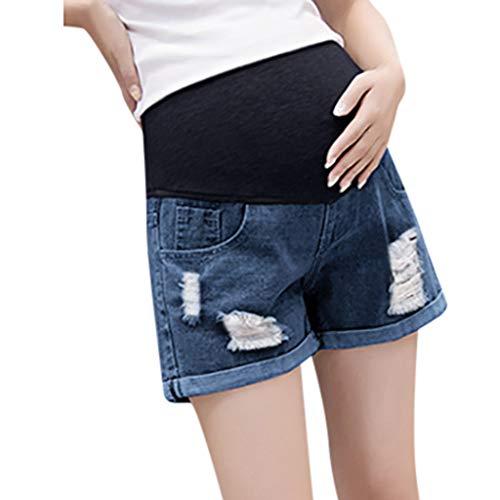 Lonshell Kurze Umstandsshorts Maternity Damen Umstandshose Jeans Mutterschaft Hosen mit Bauchband für Sommer Casual Denim-Look Schwangerschaftshose Sommerhosen -