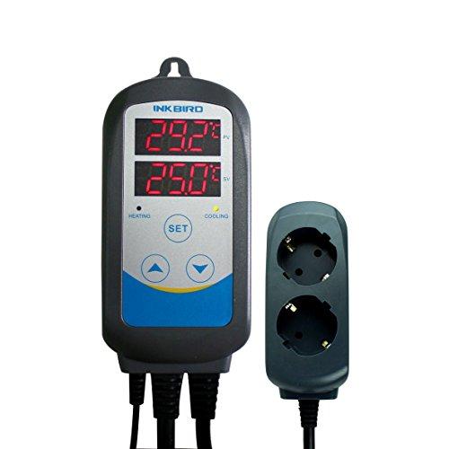 Inkbird ITC-310T-B Programmierbare Temperaturregler Schaltsteckdose & Timer Stecker 230V Temperaturkontrolle Thermostat für Gärung,Maischen,Bierbrauen (Kühlschrank Thermostat Steckdose)