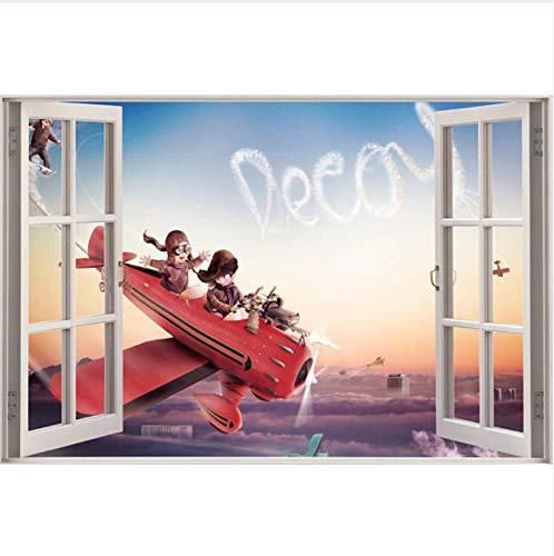 WHXJ Weihnachten 3D-Effekt Fenster Ansicht Wandaufkleber Landschaftsarchitektur Tier Kein Rahmen Vinyl Aufkleber Dekor Wandbild Küche Badezimmer Wandkunst 60X90 cm