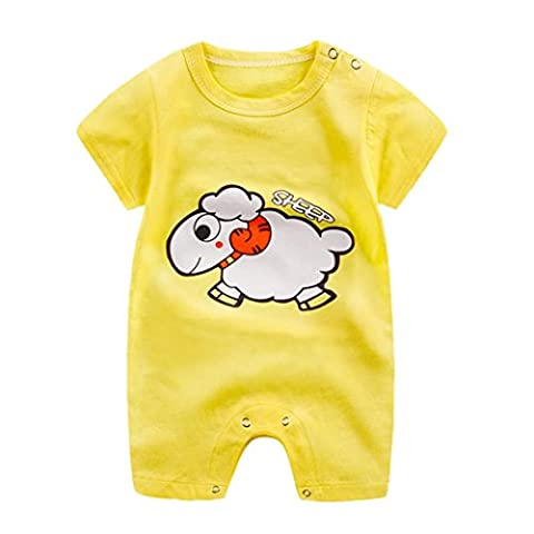 BURFLY Infant Baby Cartoon Pattern Romper Climbing Clothes Outfit (3-6Months, yellow)