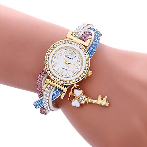 Bestow Abrigo de la Mu?eca de Las Mujeres Alrededor del Reloj de la Pulsera de la Manera de de Las Mujeres de la Moda Candado Diamond (Blanco)