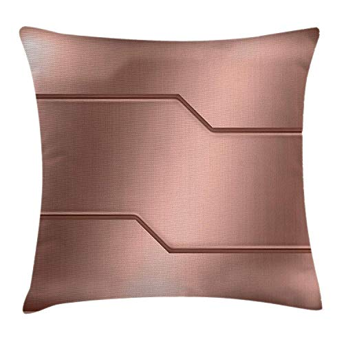 """Copricuscini e federe, Industrial Throw Pillow Cushion Cover, Realistic Looking Steel Surface Print Plate Bar Image Technology Inspired Design, Cushion Cover Pillowcase Sofa 18\""""x 18\"""", Rose Gold"""