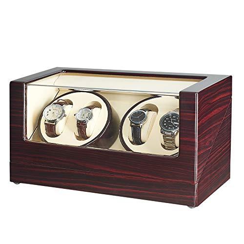 Jqueen - Espositore in legno con sistema di ricarica Watch Winder per orologi automatici