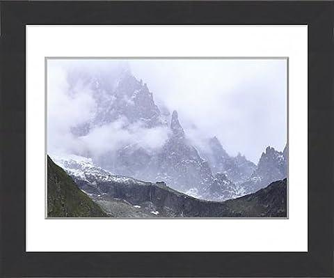 Framed Print of Summer blizzard on Monzino Hut and Aiguille Noire de Peuterey, Monzino Hut