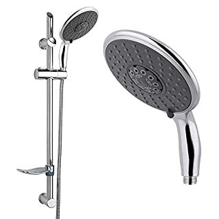 Arian EcoSpa 'Blast' Bathroom Shower Kit Including Modern Straight Riser Rail and Large 3 Mode Handset in Chrome
