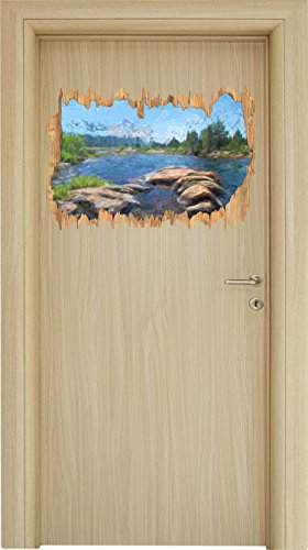 Alpine National Park (Tuolumne River, Yosemite National Park Pinsel Effekt Holzdurchbruch im 3D-Look , Wand- oder Türaufkleber Format: 62x42cm, Wandsticker, Wandtattoo, Wanddekoration)