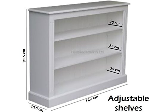 Deals For Solid Wood Bookcase; 3ft x 4ft Fully White Painted Adjustable Display Shelving Unit, Bookshelves. No flat packs, No assembly (BK5-P) on Line