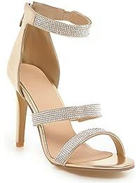 Sandalias Tacones Altos Rhinestone Strappy Patente Tobillo Correa Stilettos Zapatos de Boda de Las Mujeres Más...