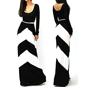 Piggy Long Sleeve Pleated Floor Length Long Dress Sasual Maxi Dress (White, L)