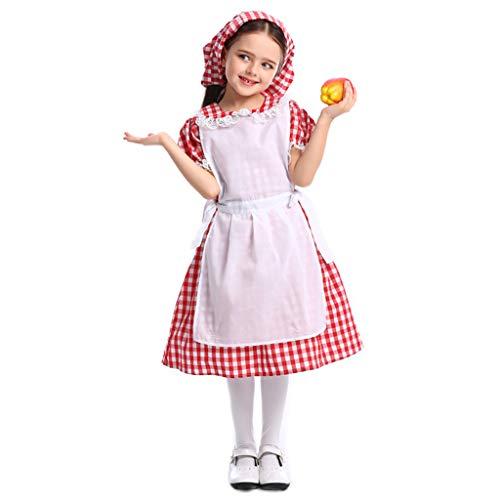 Bauernmädchen Kostüm Halloween - CJJC Süßes Bauernmädchen Kostüm A-Linie Spitze Rot Kariertes Biermädchen Kleid mit Kopfbedeckung, Halloween Fee Cosplay Dienstmädchen Kostüm XS