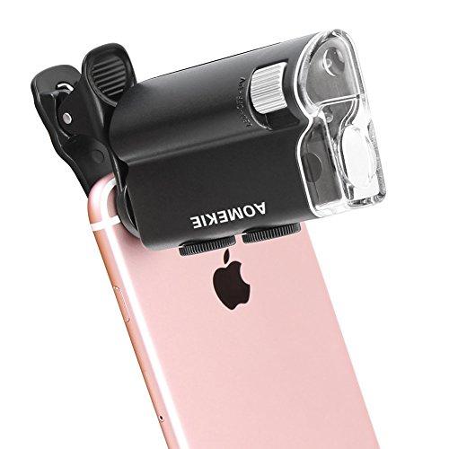 Aomekie AO1013universale clip LED Zoom 60x -100x microscopio lente d' ingrandimento per il cellulare UV valuta Detectting biologia microscopio Jewelry Appraisal