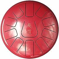 Tambor de Lengua Acero Tambor de Mano 10 pulgadas 11 notas de instrumento de percusión de percusión manual con bolsa de viaje acolchada y regalo perfecto para la meditación personal,yoga, tratamiento de sonido rojo