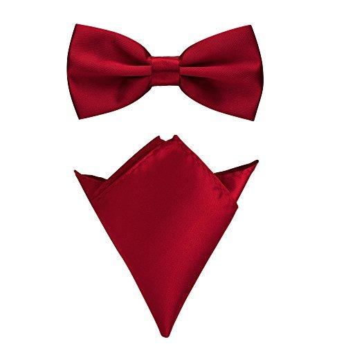 Rusty Bob Fliege mit Einstecktuch in verschiedenen Farben (bis 48 cm Halsumfang) - zur Konfirmation, zum Anzug, zum Smoking - im 2er-Set - Magenta