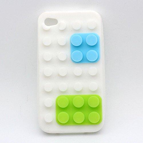 iPhone 4 / 4S Custodia Cover , Keyihan Morbida Silicone 3D Building Block Protettiva Case per Apple iPhone 4/4S (Grigio Mattoni giocattolo) bianca Mattoni giocattolo