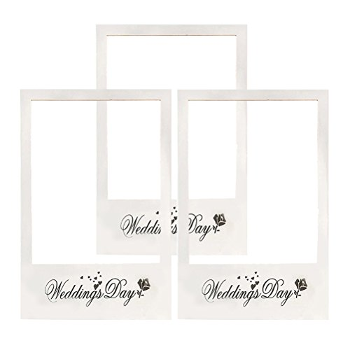 Luoem wedding photo booth cornice giorno delle nozze immagine selfie frame anniversary paper photo booth cornice puntelli per matrimonio bridal shower party favore, confezione da 3