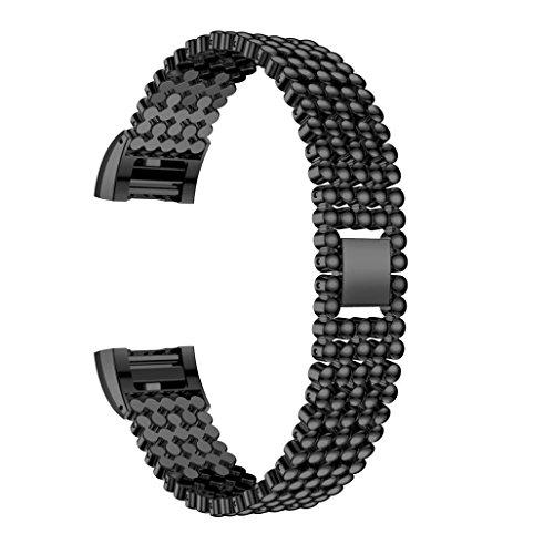 Preisvergleich Produktbild Sansee Stahl Perlen Stil Armband Smart Watch Band Strap für Fitbit Charge 2 (Fünf Baht Strap ) (Schwarz)