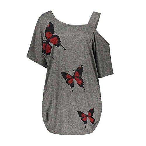 VEMOW Sommer Elegante Damen Große Größe Frauen Schmetterling Druck Oansatz Schwarz T-Shirt...