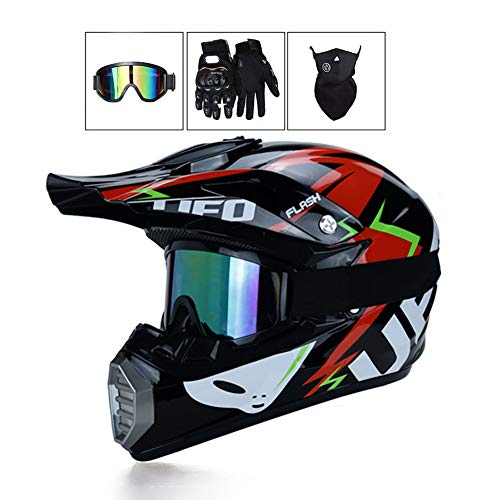 LEENP Caschi di Motocross Moto Sets con Occhiali/Maschera/Guanti, Casco da Motociclista Adulti Motorcycle Sports off-Road DH Enduro ATV Quad Moto Casco da Cross, UFO,M