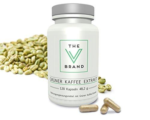 The V Brand - Grüner Kaffee Extrakt - hochdosiert - 400mg reiner Extrakt mit hohem Anteil an Chlorogensäure, Premium Qualität, 120 - Kaffee Vitamine Extrakt Bohnen